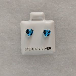 Genuine Blue Topaz Heart Earrings